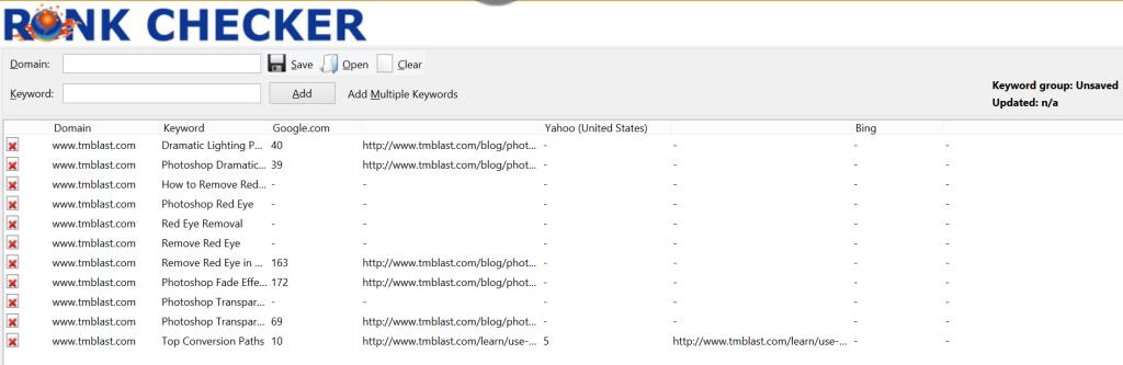 Rank Checker TM Blast Target Keywords