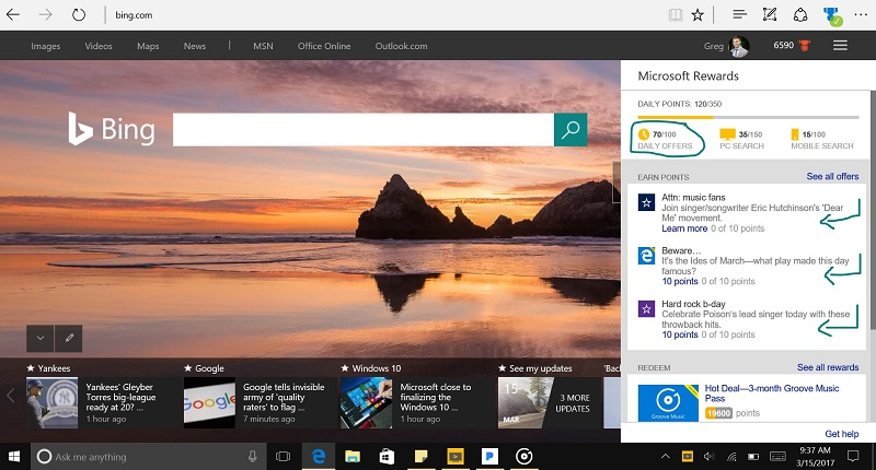 Daily Offers Microsoft Rewards to Earn more Points