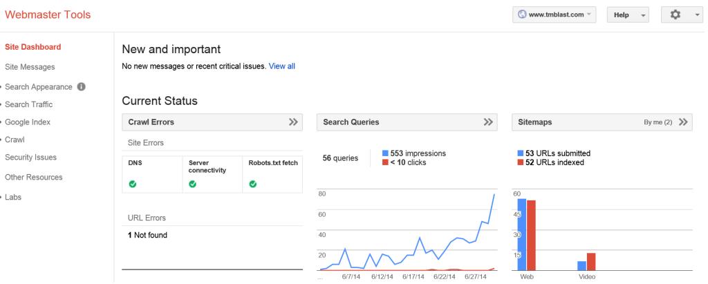 June Data in Webmaster Tools TM Blast