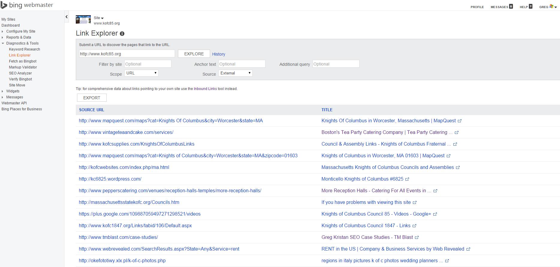Link Explorer in Bing
