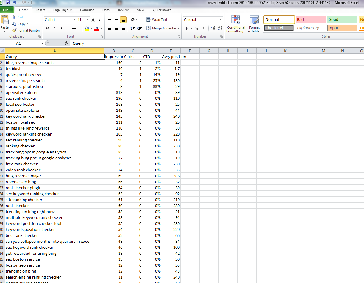 Excel Data with Keywords