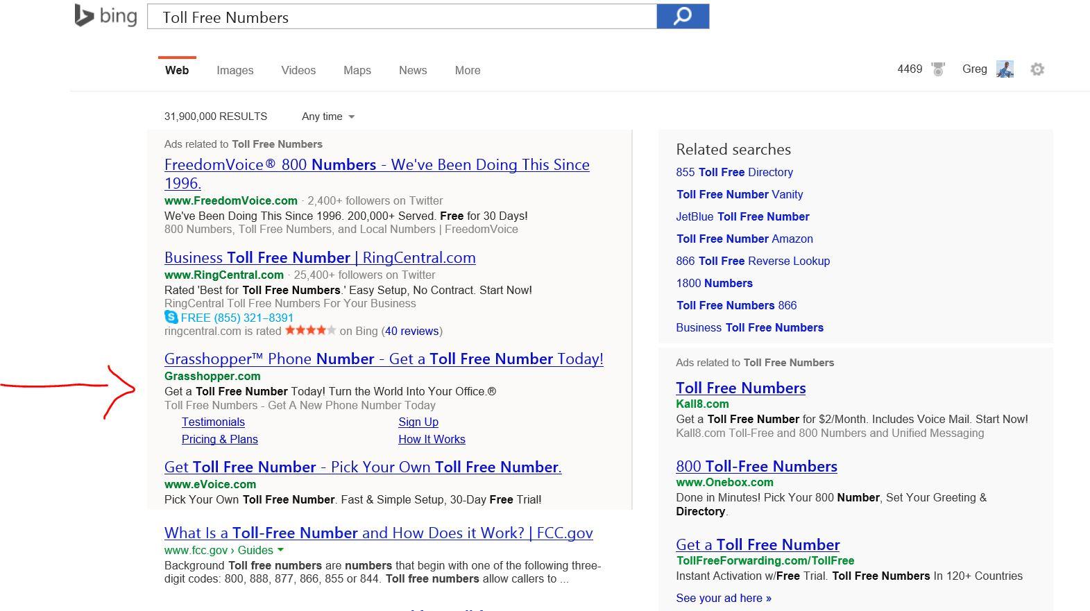 Example of sitelinks in Bing Ads