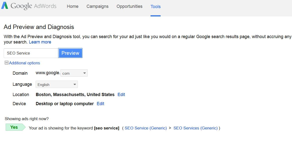 Ad is in fact showing in Google AdWords