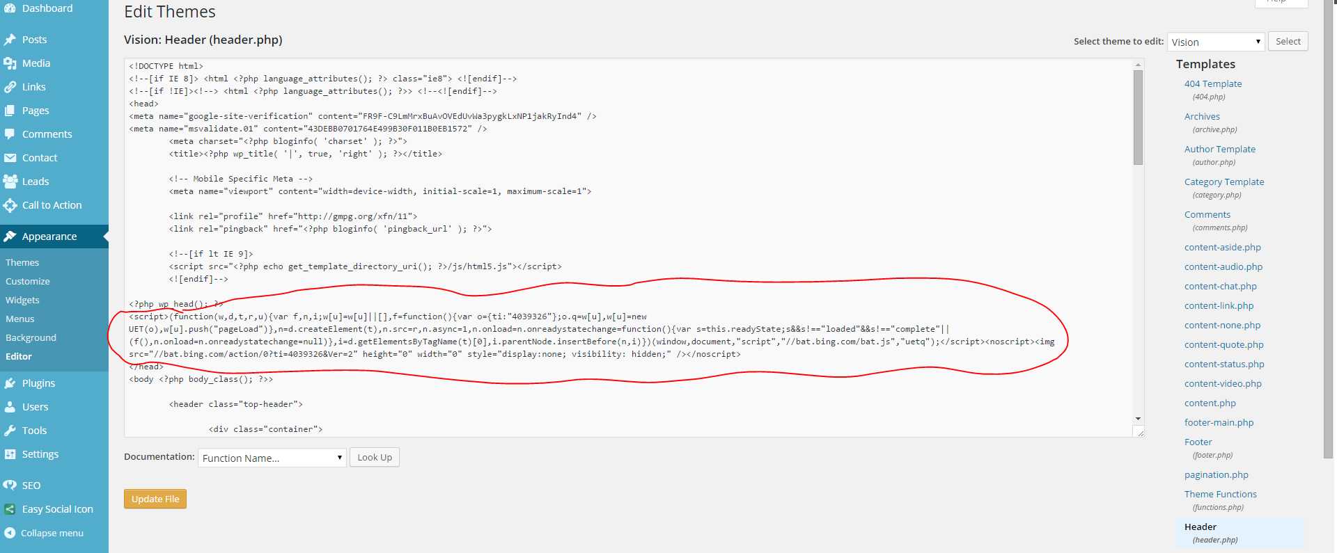 Bing Ads Code added to the header file