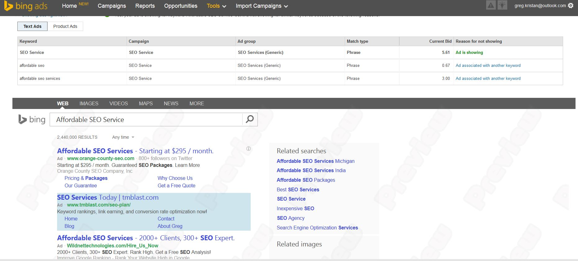 Bing Ads Showing in Preview