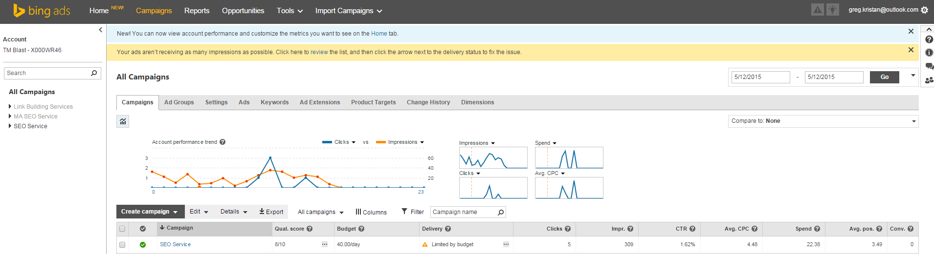 Dashboard Before Conversion in Bing Ads