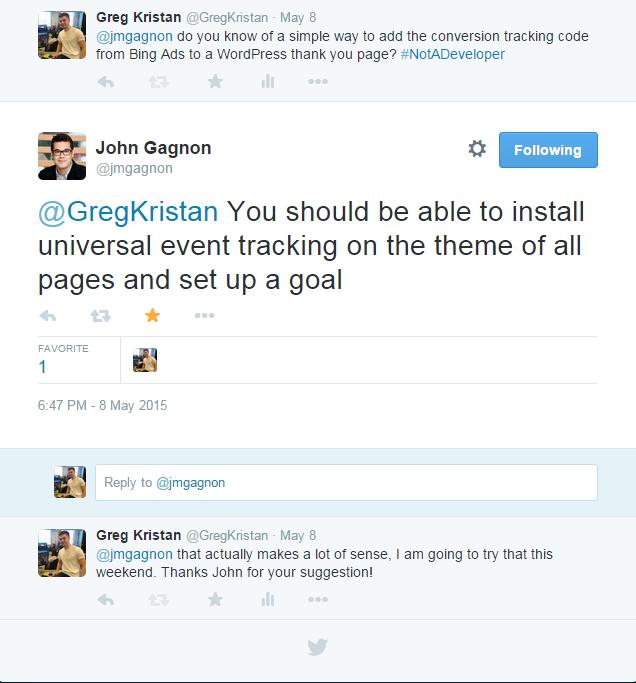 John Gagnon Twitter Conversation with Greg Kristan