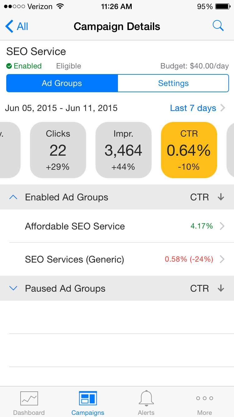 Click Through Rate in Bing Ads iOS app