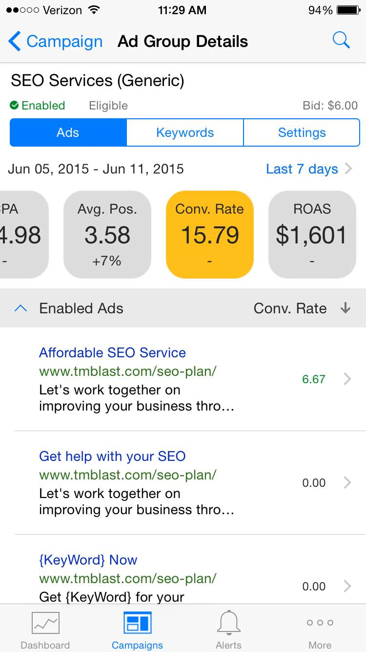 Conversion Rate in Bing Ads iOS app for TM Blast