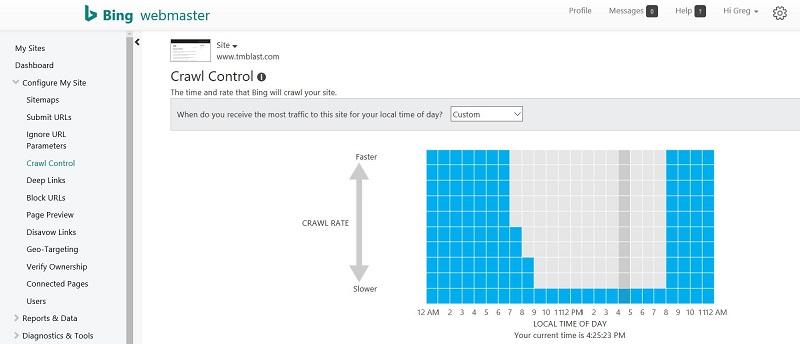 Crawl Control Bing
