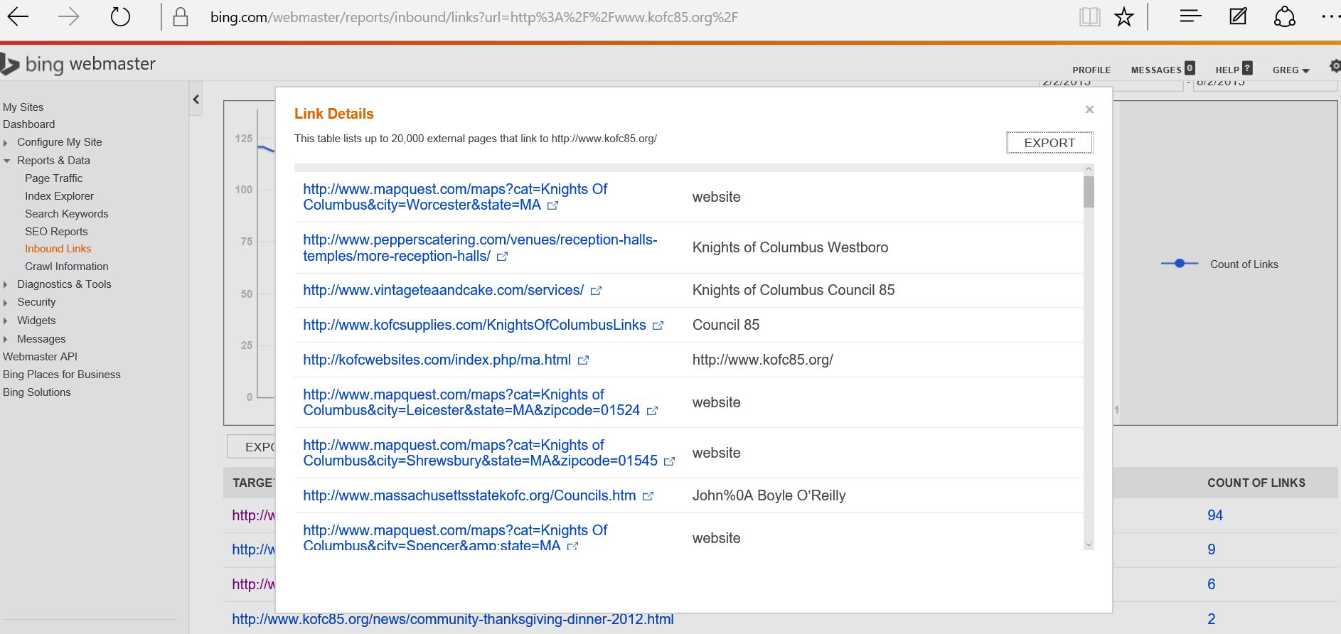 Specefic Links to a site in Bing Webmaster Tools
