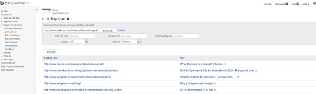 Links Pointing to a Competitor in Bing Webmaster Tools