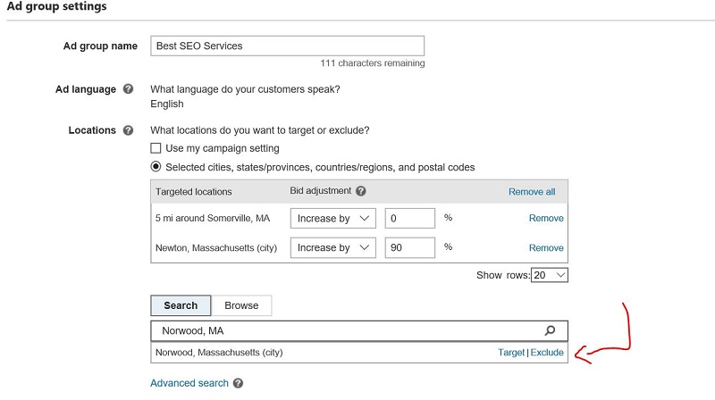 Exclude a Location in Bing Settings
