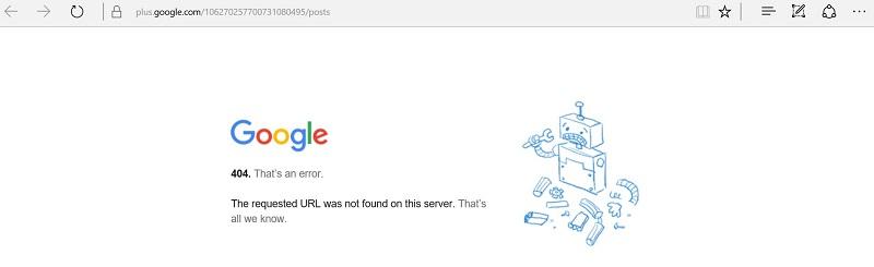 404 Error in Google Plus