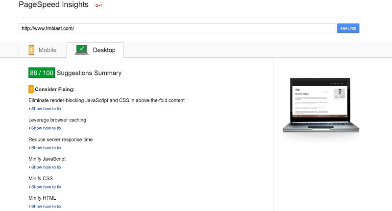 88 out of 100 in desktop speed report in google