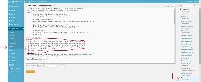 Adding the Code Easily to WordPress from Google Analytics