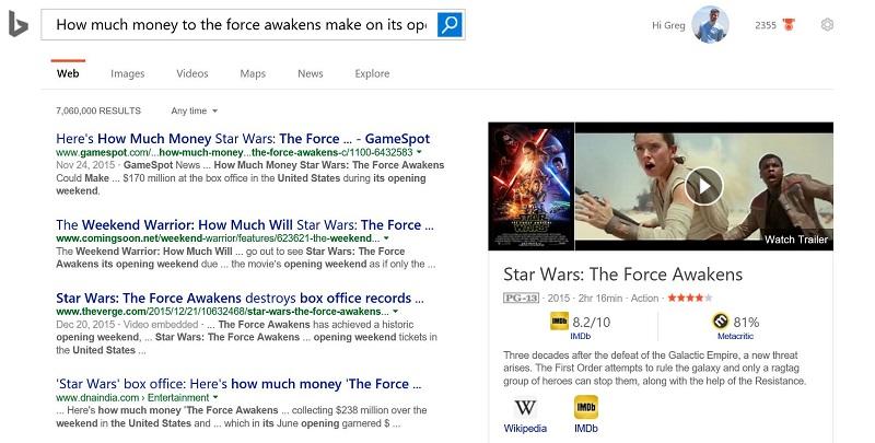 Cortana Bing Results Page
