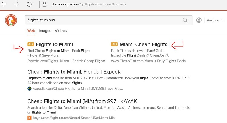 Example of a Bing Ads Search Partner