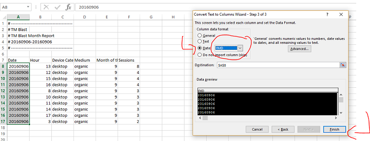 Step 3 Coverting Text to a Date in Excel