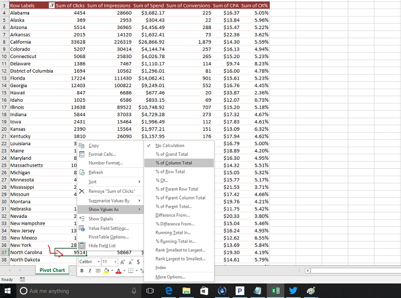 how to change data in a pivot table to make it a percentage