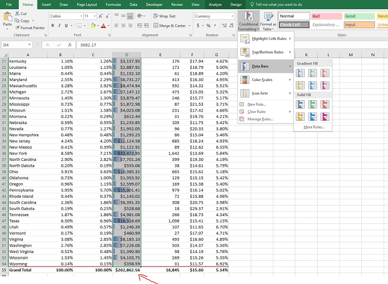 how to use data bars in excel properly