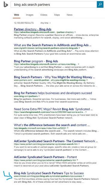 Bing Original SERP Listing Before Making a Change