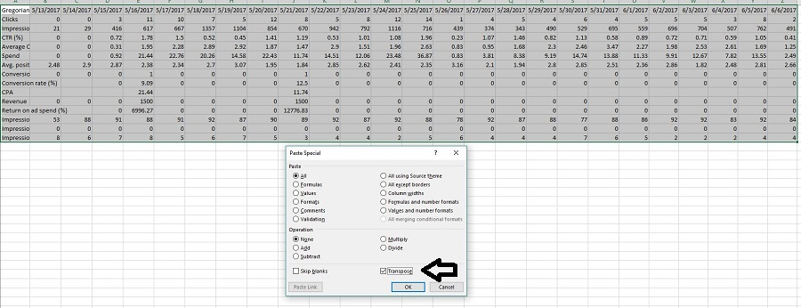How to Transpose in Excel to Move Columns to Rows