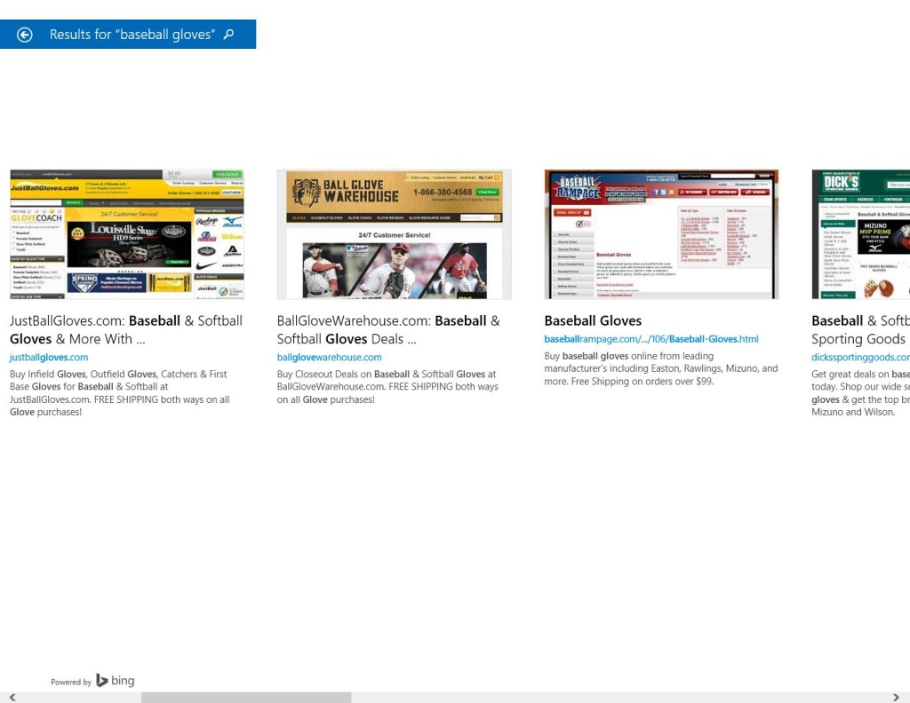 Basebal Gloves Windows 8.1 Search