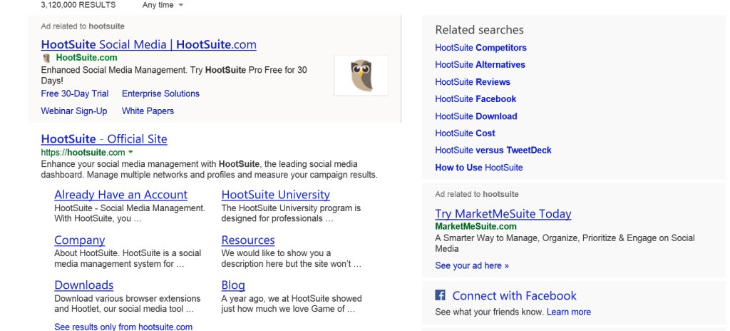 HootSuite in the Serp