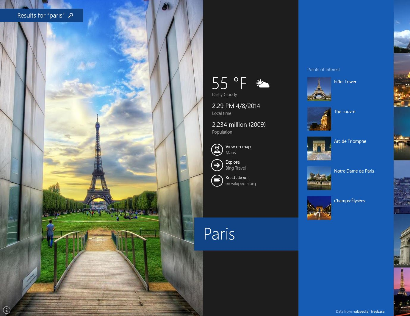 Paris search windows 8.1