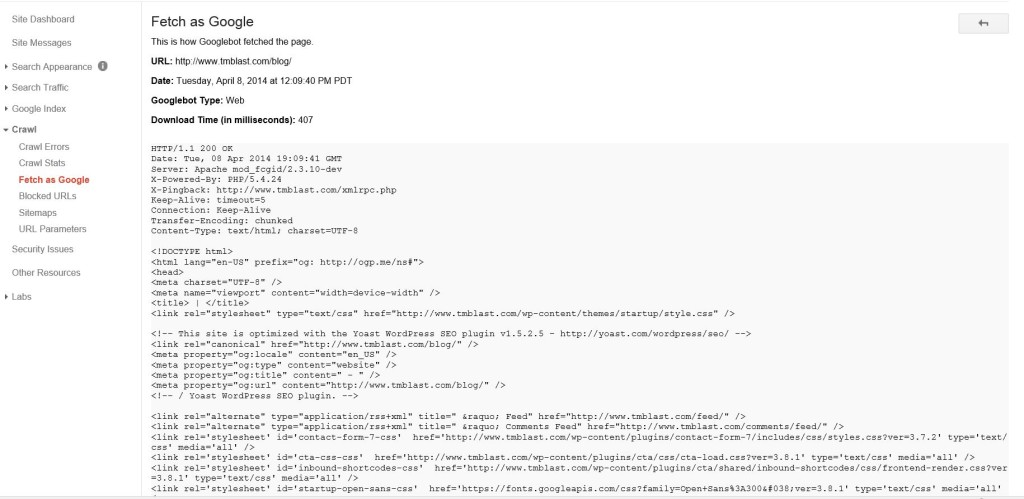 The HTML view of Google Bot