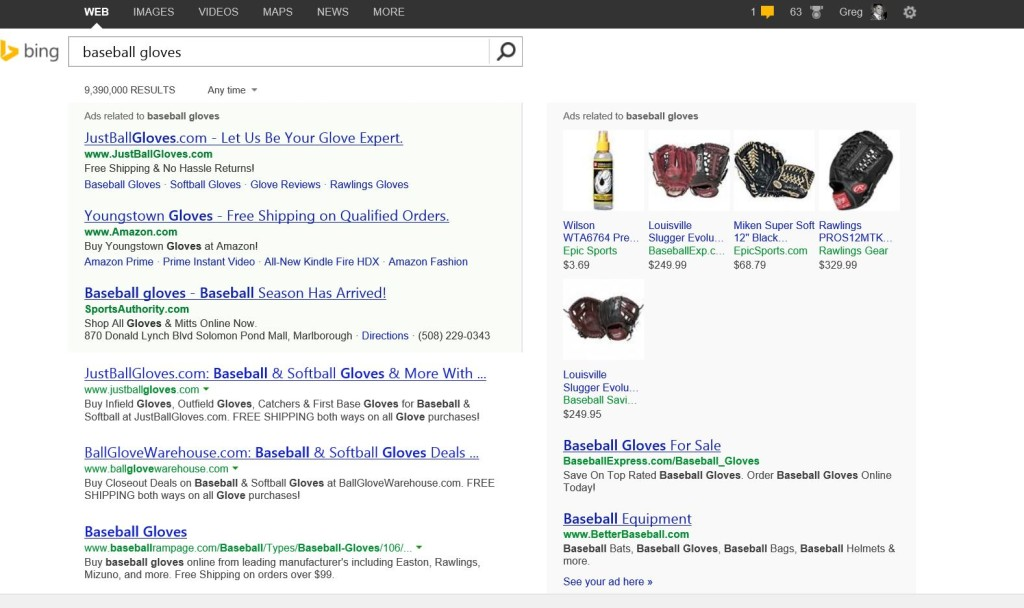 baseball gloves search in bing