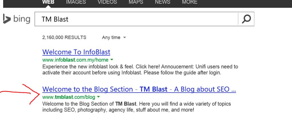 Bing Seach for TM Blast