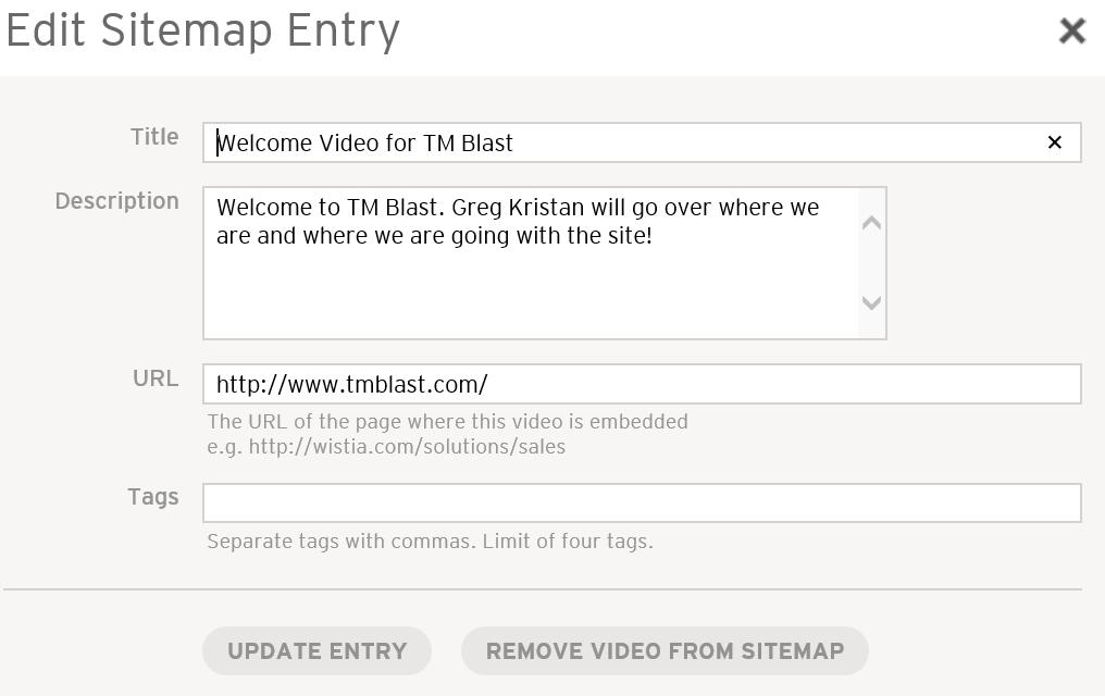 Edit Sitemap Entry