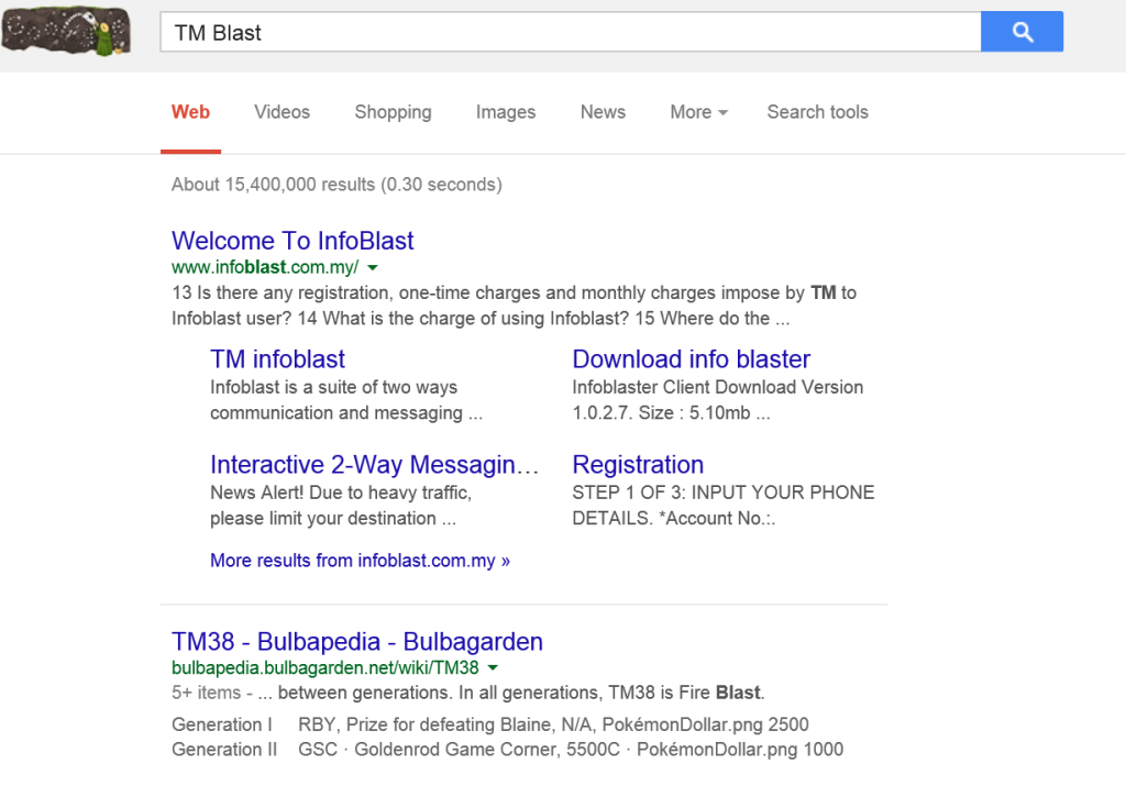 TM Blast in Google Search