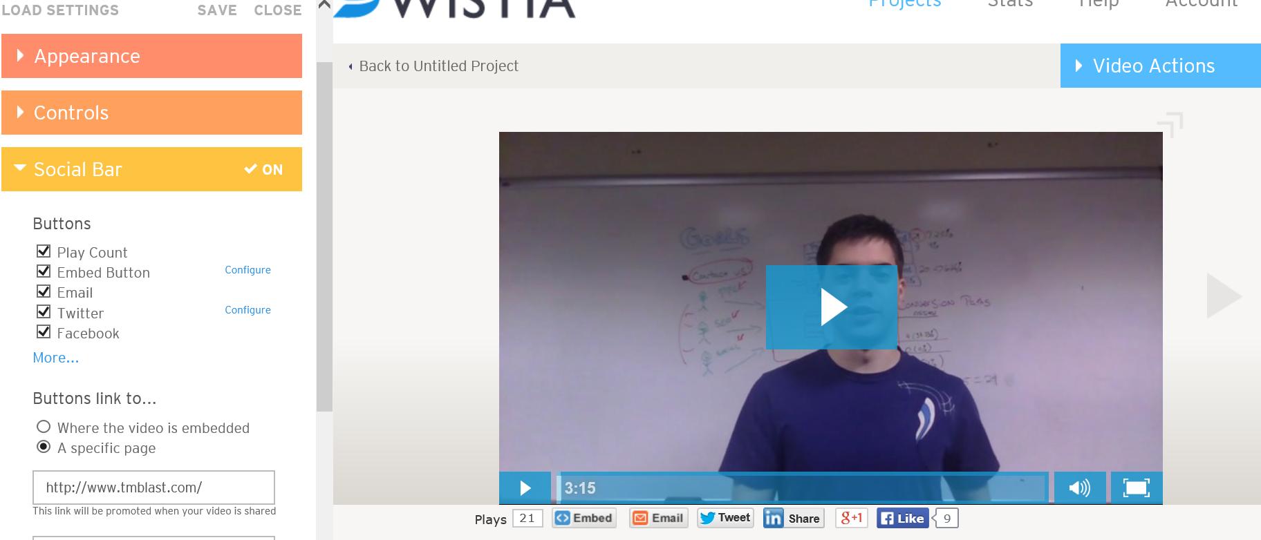 Wistia Customize the social