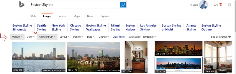 Animated Gif and Image Size in Bing Image