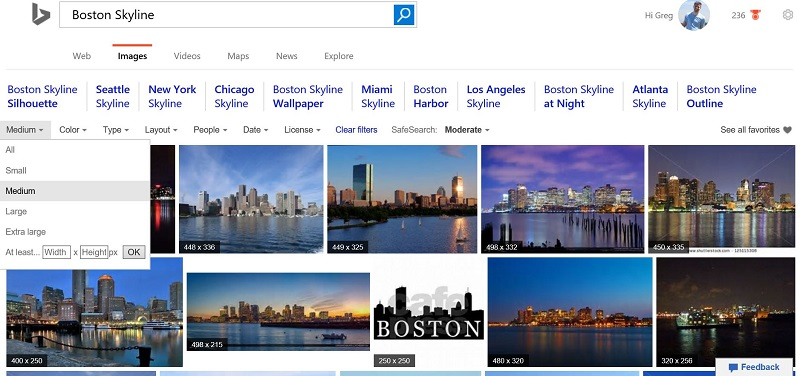 Medium Image Size in Bing Search