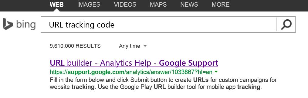 URL Tracking Code Link