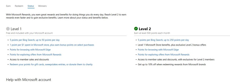Level 2 Differences with Microsoft Rewards