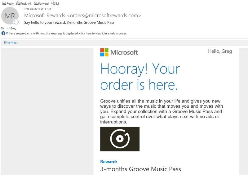 Microsoft Reward Prize Confirmation in an Email