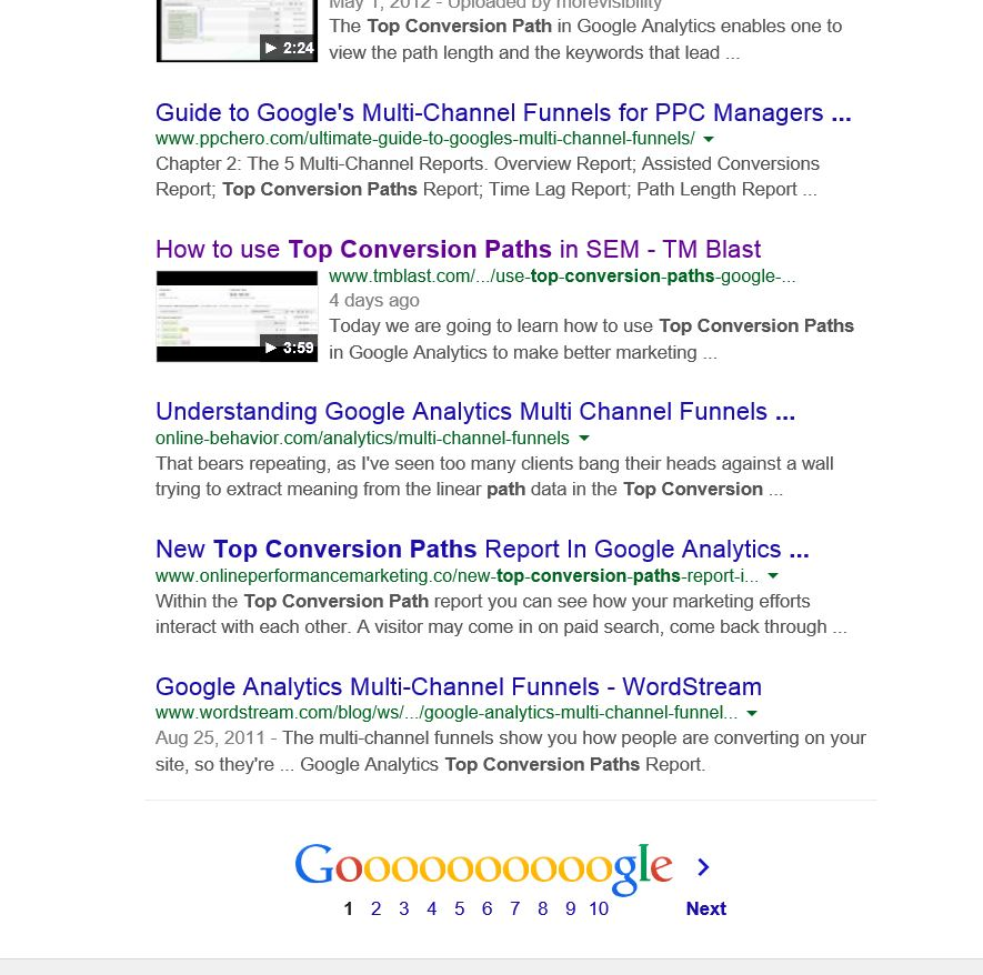 Page 1 in Google