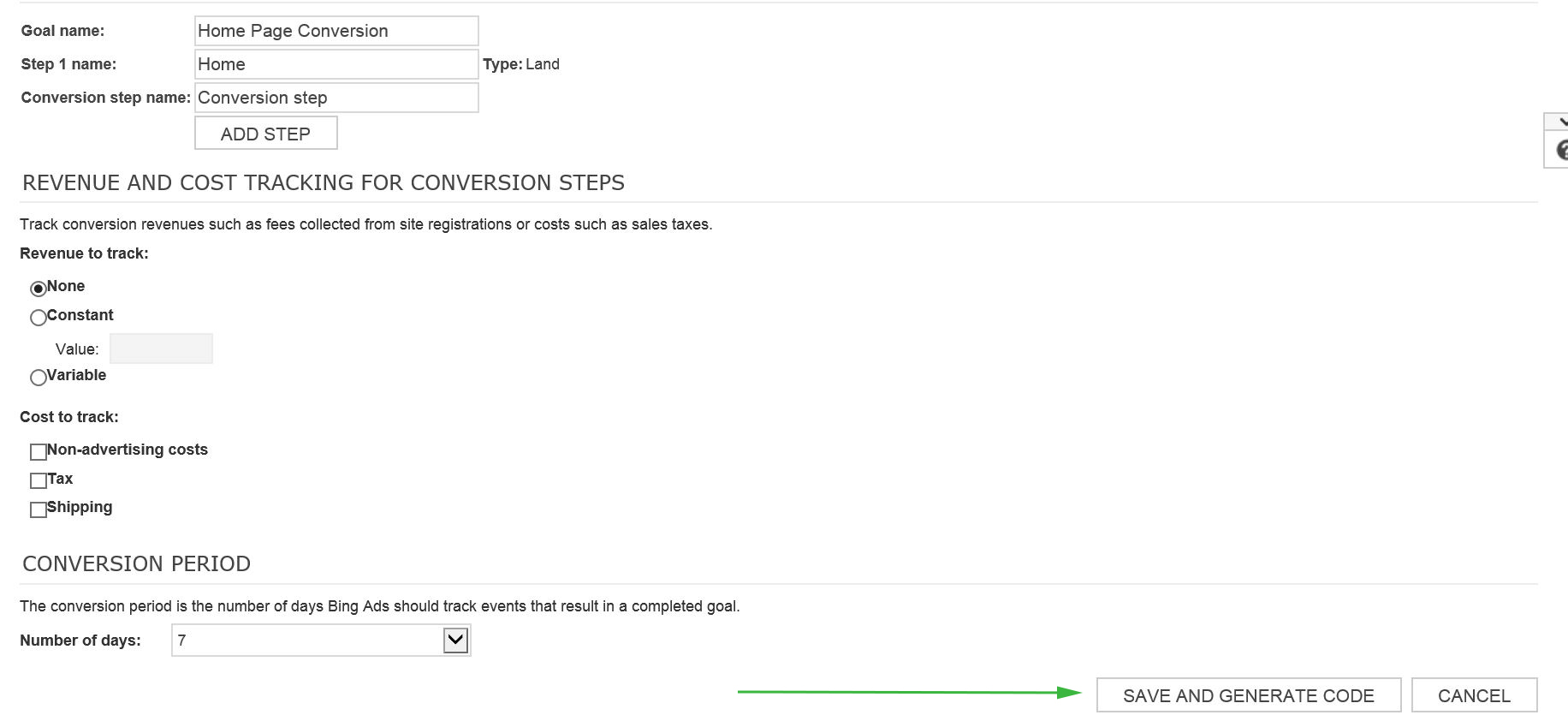 Generate Bing PPC Code