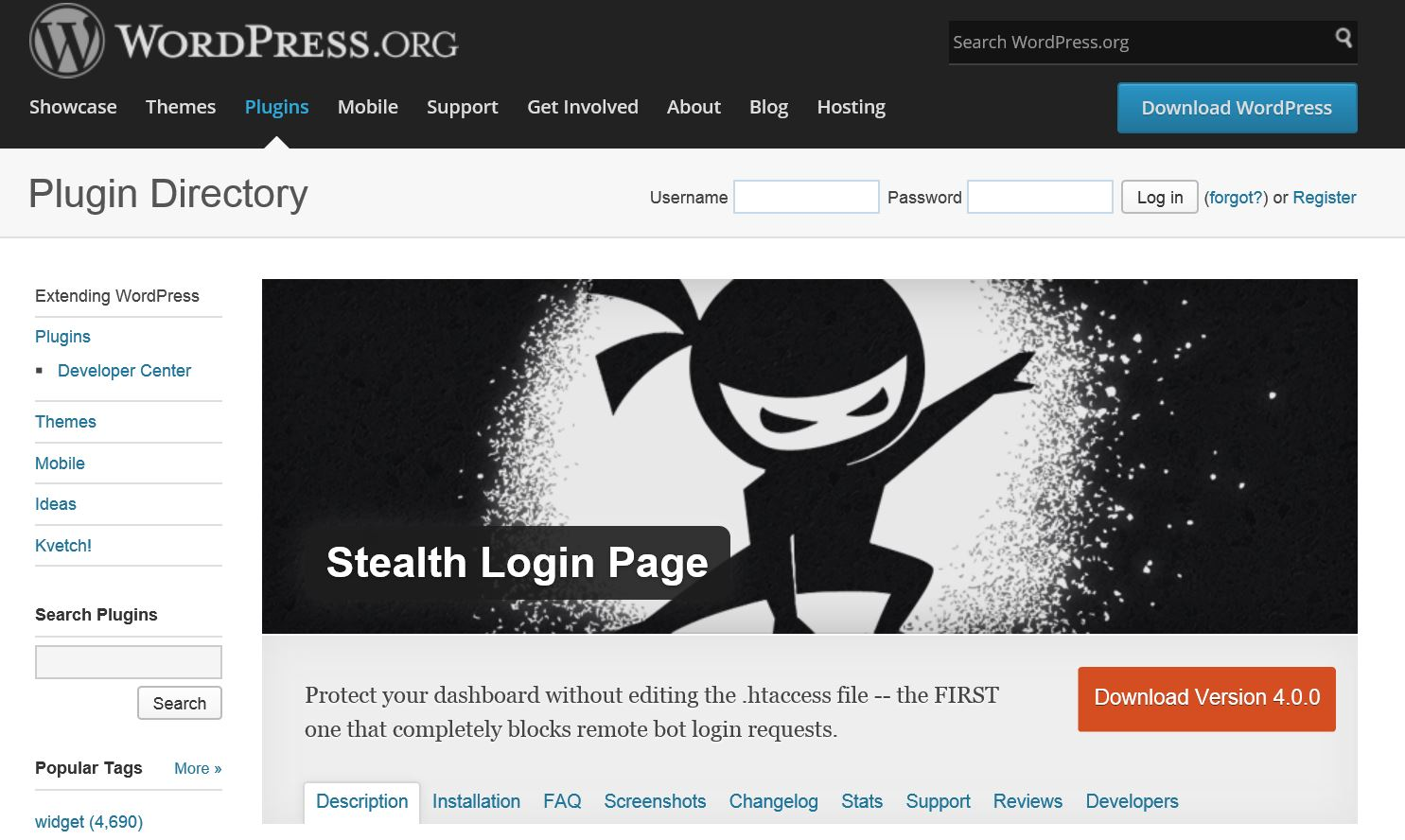 Stealth Login Plugin