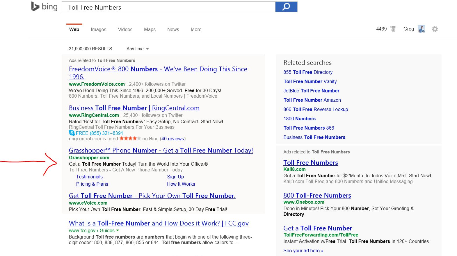 Example of sitelinks in Bing Ads