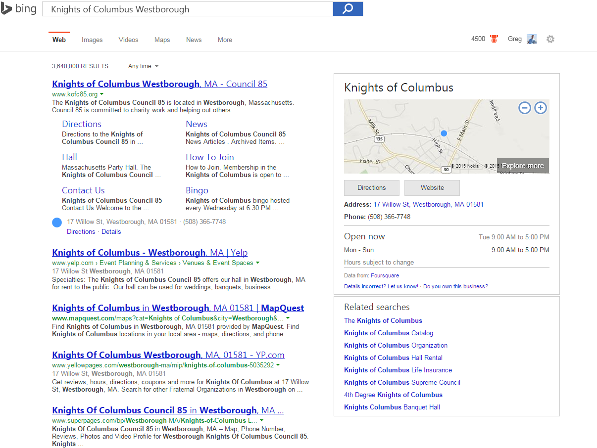 Knights of Columbus Search in Bing with Maps