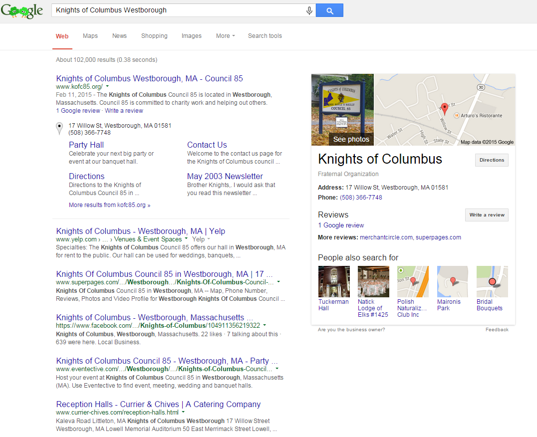 Knights of Columbus Search in Google