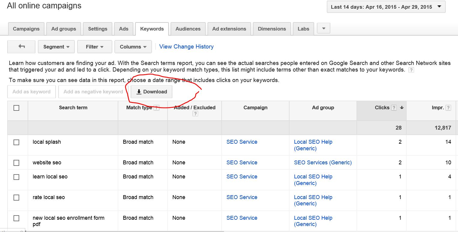 New Keywords in AdWords with Match Types