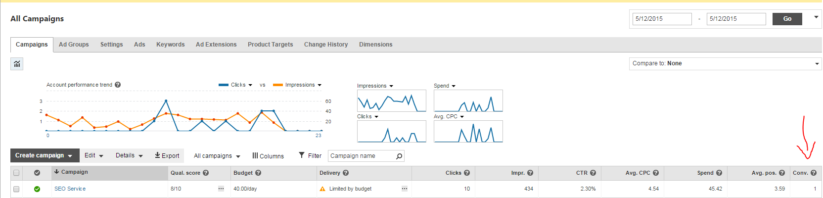 Bing Ads Conversion in the Dashboard