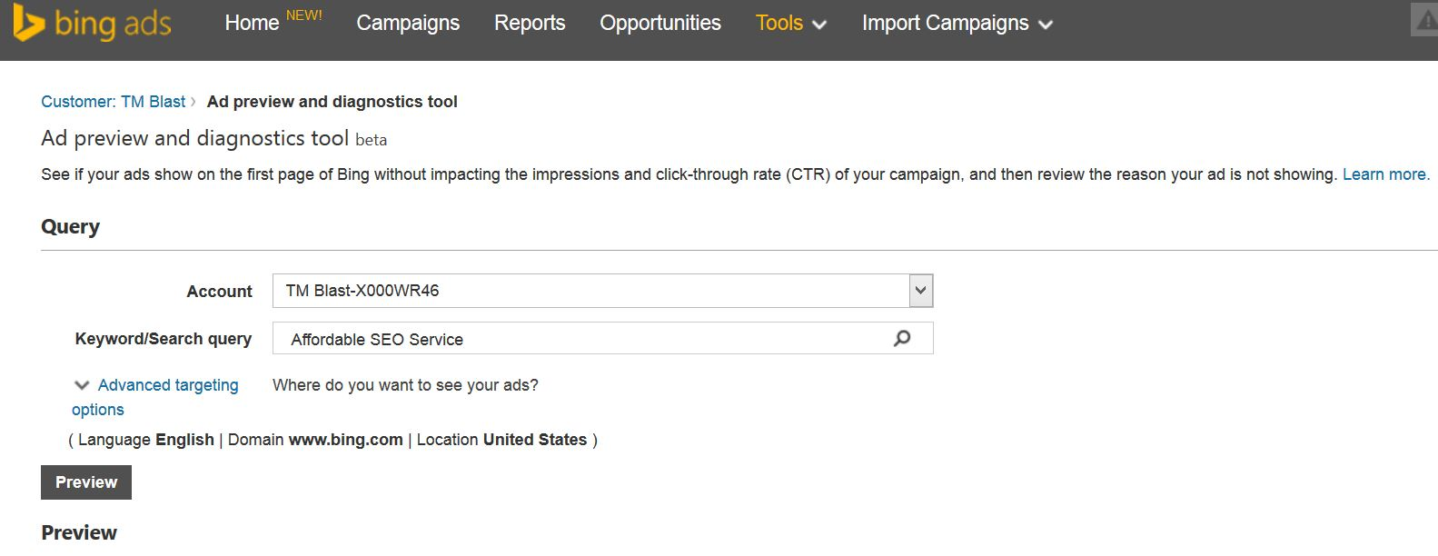 Bing Ads Keyword Preview tool